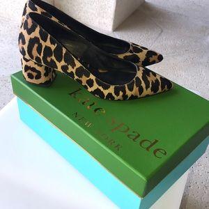 Kate Spade fur leopard print pumps.